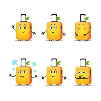 Cartoon walizka pack torby podróżne na kółku zestaw emocji wektor zabawny bagaż dla marketingu