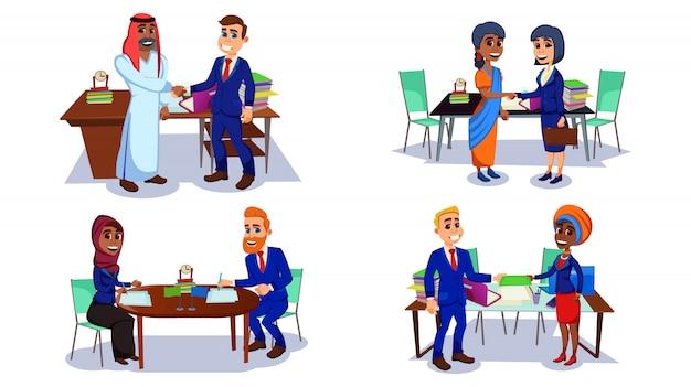 Cartoon wielorasowe biznesmeni etniczne ubrania