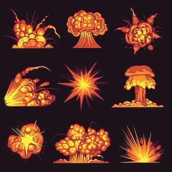 Cartoon wybuchy ogień huk z efektem dymu eksplodującego dynamitu niebezpieczeństwo wybuchowej bomby