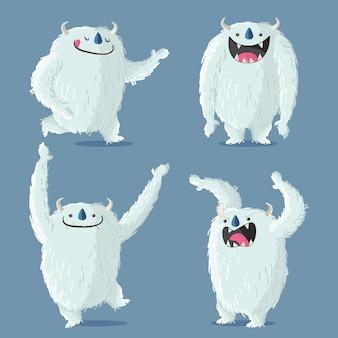 Cartoon yeti ohydna kolekcja postaci bałwana