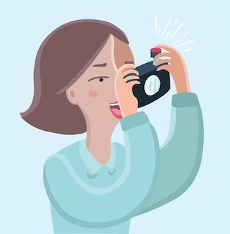 Cartoon zabawna ilustracja kobiety robienie zdjęć z aparatu