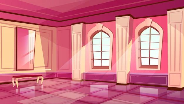 Cartoon zamku pałac wnętrze sali balowej z królewskim meble
