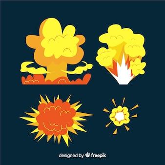 Cartoon zestaw efektów wybuchu bomby