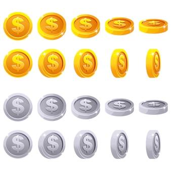 Cartoon zestaw metalicznych monet 3d