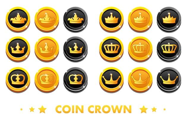 Cartoon złote i czarne monety z koroną godła