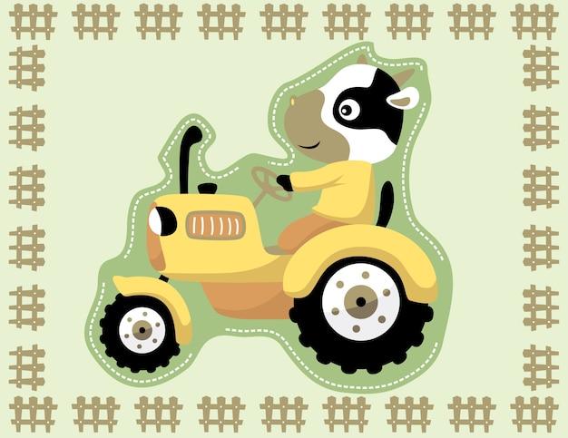 Cartoon żółty traktor z zabawnym kierowcy na ramie ogrodzenia