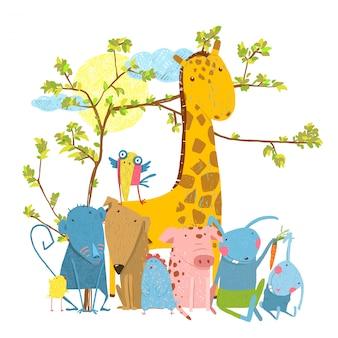 Cartoon zoo friends animals group