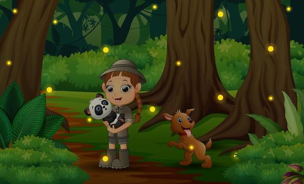 Cartoon zwierząt dziewczyna zookeeper w ciemnym lesie
