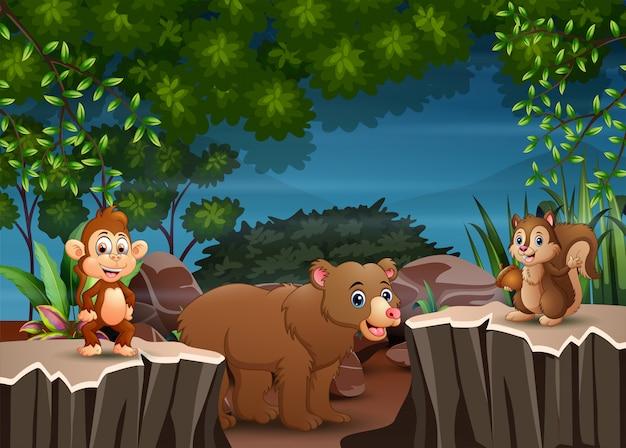 Cartoon zwierząt grających w scenie nocnej