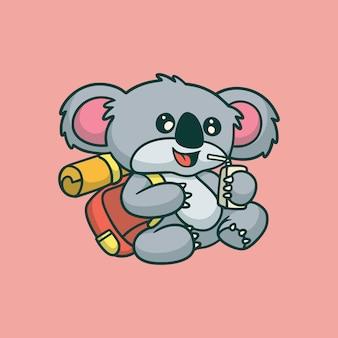 Cartoon zwierząt projekt koala wspinaczka słodkie logo maskotki