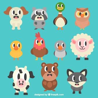 Cartoon zwierząt w płaskiej konstrukcji