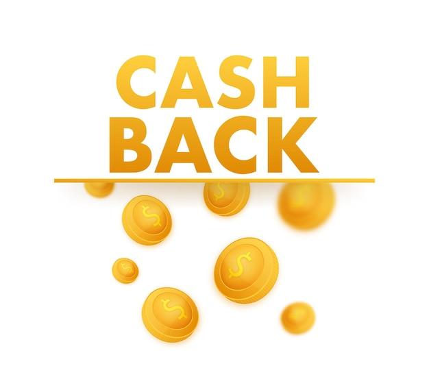 Cash back ikona na białym tle. etykieta zwrotu gotówki lub zwrotu pieniędzy. ilustracja wektorowa.