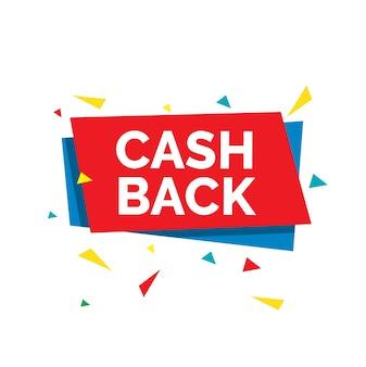 Cash back napis z abstrakcyjnie ukształtowaną czerwoną i niebieską kartą i kolorowymi trójkątami.