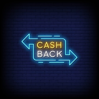 Cash back neon signs style text