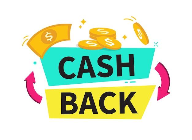 Cashback banner cashback lub etykieta zwrotu pieniędzy program partnerski zakupów online