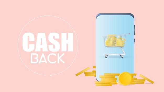 Cashback i oszczędności na koncepcji zakupów. smartfon ze złotymi monetami. telefon i góra monet. złote monety pieniądze wektor.