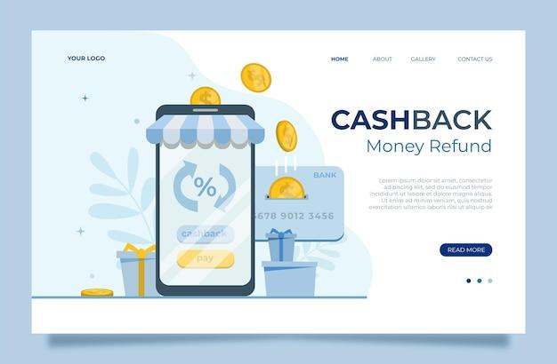Cashback za zakup, sprzedaż rabatu, nagrodę pieniężną, ilustracji wektorowych programu lojalnościowego klienta