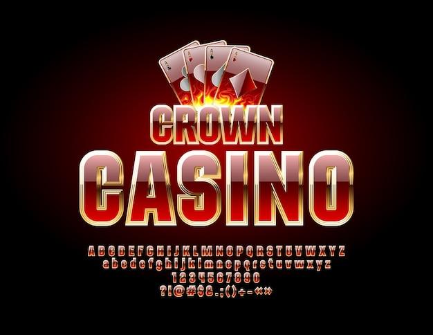 Casino chic litery, cyfry i symbole. czcionka królewska w kolorze czerwonym i złotym