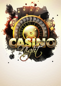 Casino night flyer z kołem ruletki.