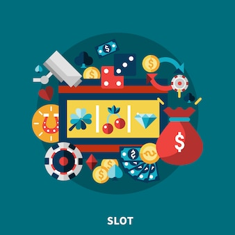 Casino slot icons round composition