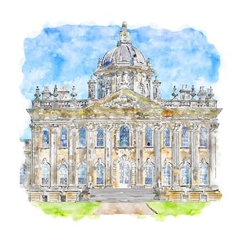 Castle howard akwarela szkic ręcznie rysowane ilustracji