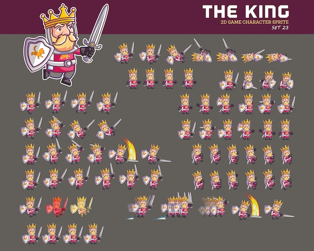 Castle king cartoon game character animation sprite