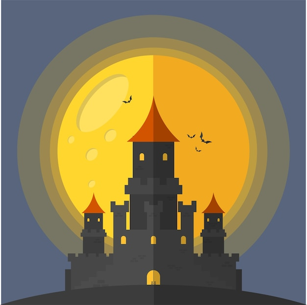 Castle moon and bats