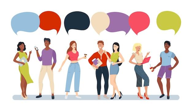 Casual people group chat bubble komunikacja social network. grupa ludzi kreskówek rozmawia z kolorowych dymków.