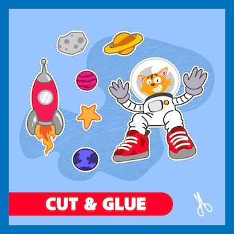 Cat astronaut cut and glue