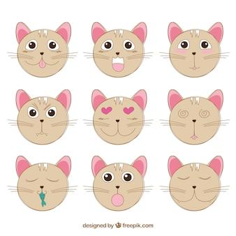 Cat emotikony z fantastycznymi mimiki