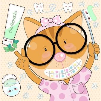 Cat orthodontist czyść pastą do zębów i nicią dentystyczną