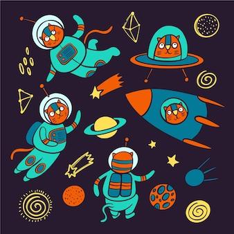 Cat space słodkie kosmiczne podróżujące zwierzę w skafandrze kosmicznym i w rakiecie wśród planet gwiazdy i konstelacje galaktyki kreskówka