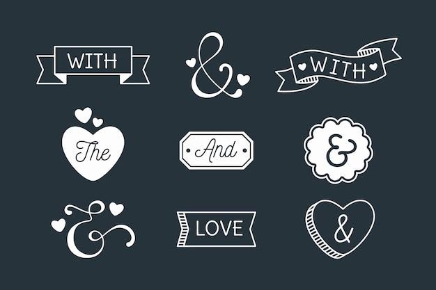 Catchword i ampersand kolekcja na czarnym tle