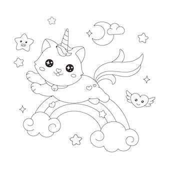 Caticorn cat jednorożec obdzierający ze skóry nad tęczą kolorowania ilustracji