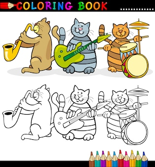 Cats band for coloring book lub page