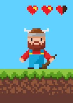 Cavalier character with steel, pixel game vector