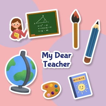 Ccartoon naklejka z koncepcją dnia nauczyciela