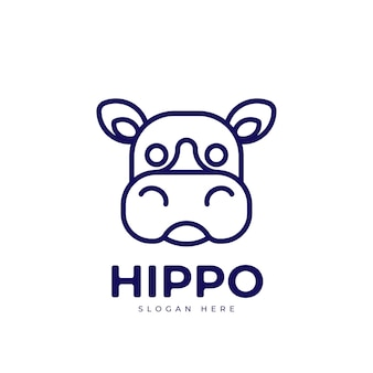 Ceative monoline logo projekt uroczy hipopotam
