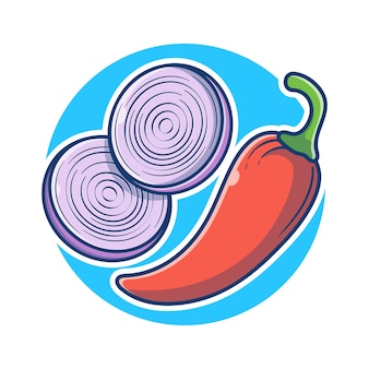 Cebula i czerwona papryka chili ilustracja kreskówka. koncepcja warzyw czerwony pikantny i cebula. ilustracja żywności i warzyw. płaski styl kreskówki.