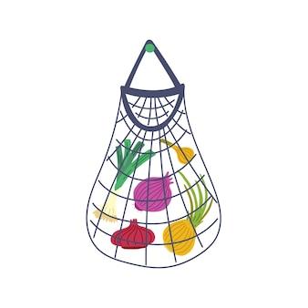 Cebula w siateczkowej torbie. wektor warzywa ręcznie rysowane