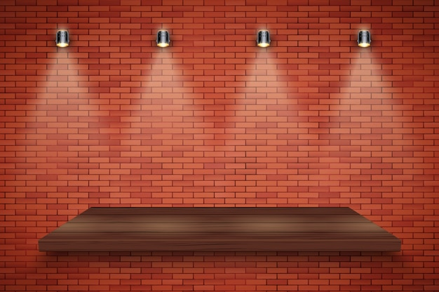 Ceglana ściana i drewniana platforma z trzema reflektorami w stylu vintage.
