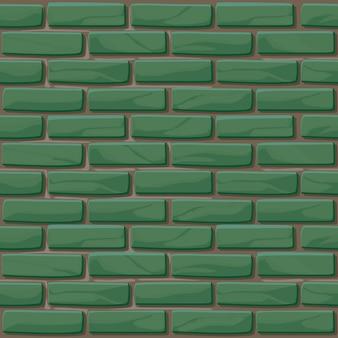 Ceglana ściana tekstura bez szwu. ilustracja kamienie ściany. wzór. tło zielony ceglany mur
