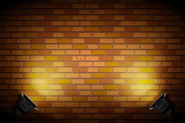Ceglana ściana z oświetleniem punktowym
