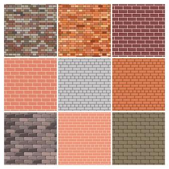 Ceglana ściana. zestaw dziewięciu czerwonych i szarych ceglanych ścian tła. ilustracja wektorowa