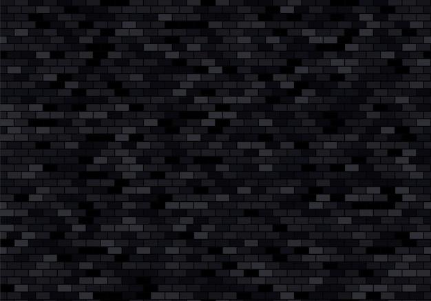 Ceglany mur czarne tło. cegły tekstura wektor wzór.