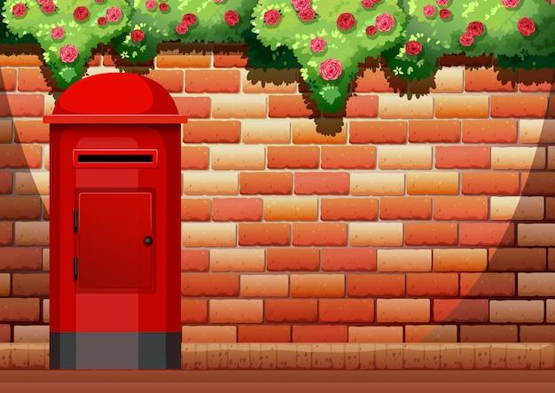 Ceglany mur i skrzynka pocztowa