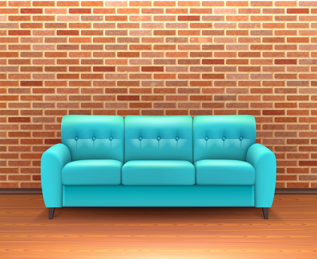 Ceglany mur wnętrze z sofą realistyczne