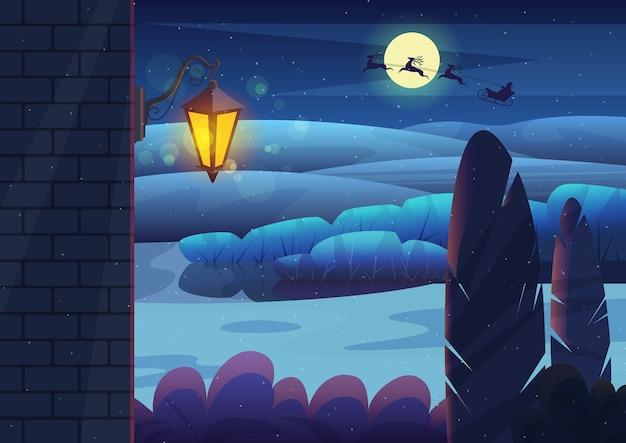 Ceglany mur ze świecącą latarnią na tle krzewów ogrodowych i wzgórz na ciemnym tle