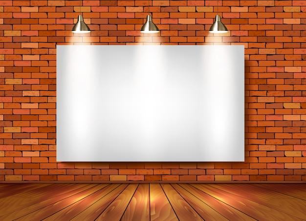 Ceglany salon z reflektorami.