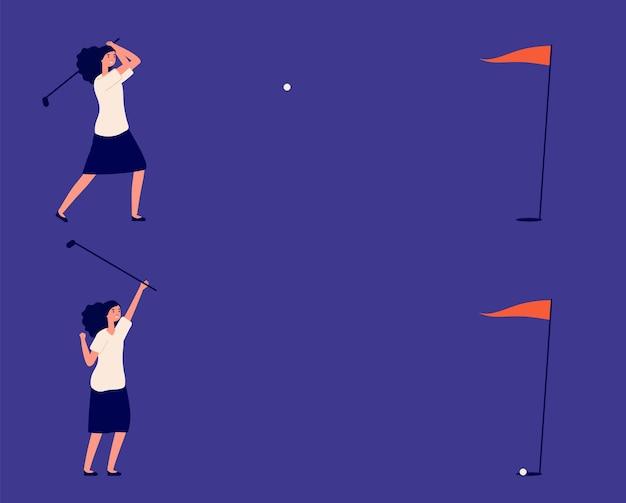 Cel biznesowy. kobieta gra w golfa, metafora udanego projektu lub inwestycji. klub golfowy manager, piłka uderza w cel i dziewczyna wygrać ilustracji wektorowych. dziewczyna wygrywa hiy precyzyjny cel, udana gra